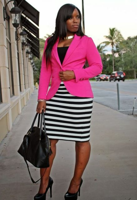PinkBlazer_StripedSkirt